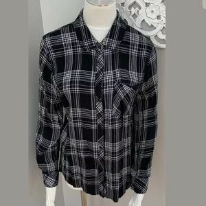 Rails Button Down Plaid Black Shirt Top Size L